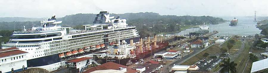 The Celebrity Constellation in the Gatun Locks on March 4th 2010 on her South Bound Panama Canal Transit