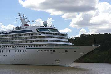 The Crystal Symphony Cruise Ship in the Panama Canal