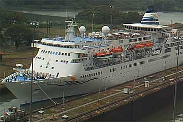 The Delphin Voyager Cruise Ship in the Miraflores Locks, Panama Canal