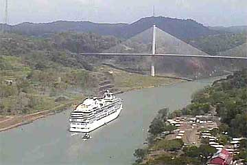 The Island Princess at the Millennium Bridge, Panama Canal