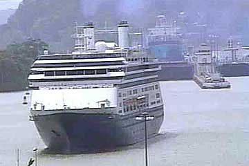 The MS-Amsterdam Cruise Ship in the Panama Canal