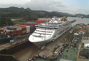 The Oceana Cruise Ship Doing A Panama Canal Transit - Oceana cruise lines